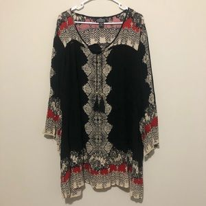Boho tie neck long sleeve top Angie multi color